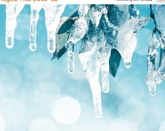 ON SALE winter photography snow 8x10 8x12 fine art photography abstract bokeh photography ice snow falling photography christmas decor paste