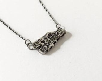 Cedar Bark Necklace - Cast Cedar Bark in Oxidized Sterling Silver