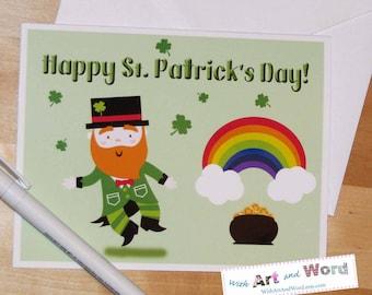 St. Patrick's Day Card; Leprechaun; Shamrock; Greeting Card; St. Paddy; Green; Pot of Gold; Irish; Luck; Four Leaf Clover