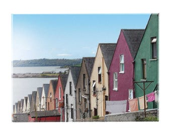 Irish Houses Fine Art Created from Photography Stucco Row Houses  in Cobh, Ireland - Travel Art from Ireland