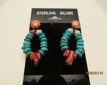 Turquoise, spiny oyster, sterling silver, post