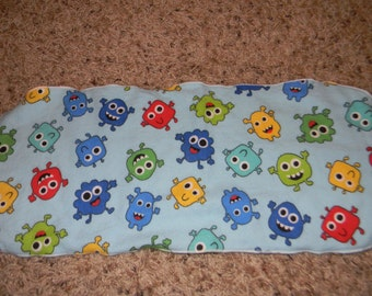 Blue Burp Rag with Multicolored Germ Characters