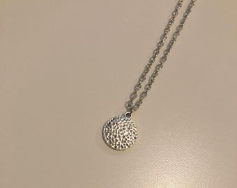 Statement Hammered Pendant Necklace- Silver
