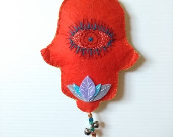 Hamsa evil eye decoration or bag charm