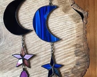 Custom Suncatcher   Crescent Moon   Star   Stained Glass   Home Decor   Boho Decor   Suncatcher   Wall Hanging   Nature Decor   Moon Decor