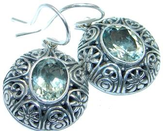 Blue Topaz Sterling Silver Earrings - weight 8.50g - dim L- 1 1 4, W - 5 8, T- 3 16 inch - code 7-lis-16-7