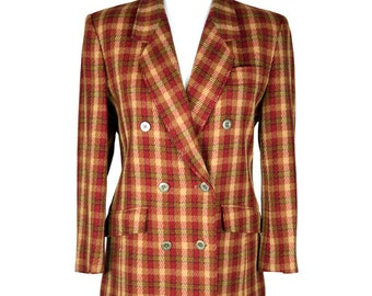 70s/80s Viyella Wool Plaid Blazer UK 12