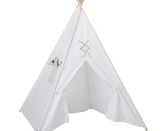"""Kids White Canvas Leather Lace Teepee """"Astrid"""""""
