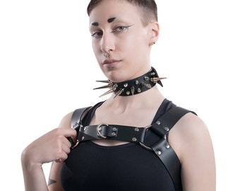 DSF Bulldog Unisex Torso Harness - Top Grain Leather Bondage Body Cage Frame Bra Straps Chest burlesque Mens Womens black white gray pink
