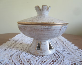 Haeger Gold Tweed Pottery Bowl With Lid