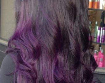 Clip in Human Hair Extensions 1B (Natural black/ off black) - purple hair Ombre