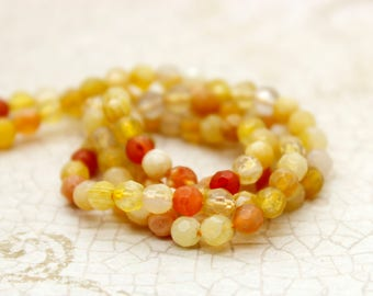 Natural Yellow Agate Faceted Round Gemstone Beads (4mm)