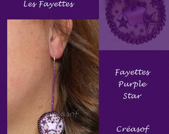 Embroidered Liberty BO Fayettes Purple Star earrings