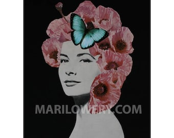 Paper Collage Print, Dark Floral Art, 8.5 x 11 Inches, Unusual Portrait, Pink and Black, Pink Poppies, frighten