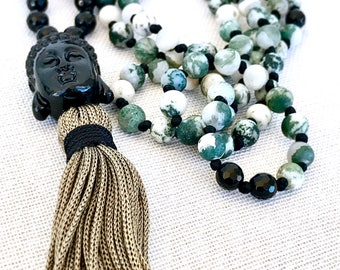 Tree Agate Necklace, Buddha Mala Necklace, Black Onyx Necklace, Tassel necklace, Boho Yoga necklace, Meditation necklace, 108 Mala Beads