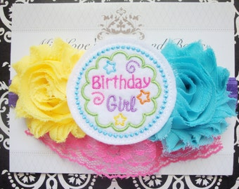 Girls headband, birthday headband, pink yellow and blue headband