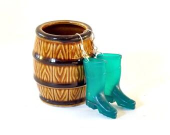 Green Wellington Boot Earrings - Gardener Earrings - Gardener Gift