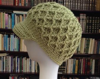 Crochet Chemo Cap Hat, Newsboy Visor Hat, Beanie Women Brim Hat Green, Ready to ship