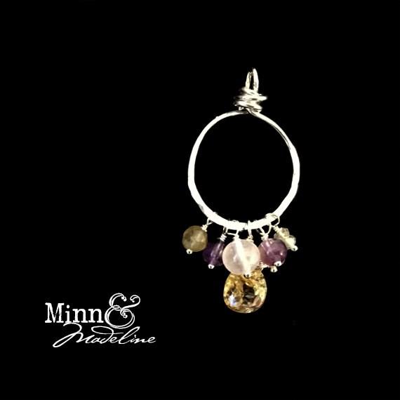 Abundance Gemstones, Money Talisman, Citrine, Amethyst, Moonstone, and Rose Quartz Charm, Prosperity Crystals
