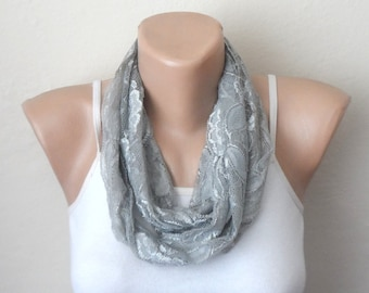 gray infinity scarf  lace loop scarf
