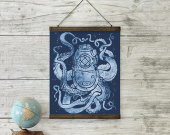 Deep Sea Large Art Print Wall Hanging with Schoolhouse Solid Oak Wooden Bars - nautical home decor collection, diver helmet octopus wall art