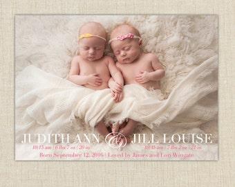 twin photo birth announcement