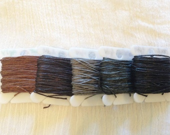 4 ply BROWN GREY BLACK 0.82mm Waxed Irish Linen Crawford Cord 5 - 20 yards Jewelry Beading Thread