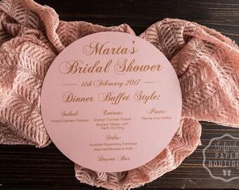 Rose Pink with Gold Font Round Menu • Circle Menu • Any Size ROUND MENU, Charger Menu, Reception Menu Cards - for weddings, bridal ev