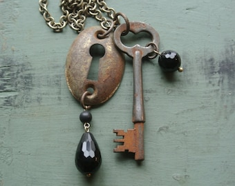 UPcycled Skeleton Key and Key Hole Cover Necklace, Recycled, Antique Vintage, One of a Kind, Steampunk, Unisex, Authentic By UPcycled Works
