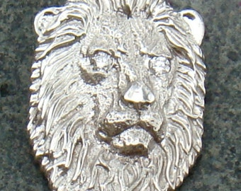 14k White Gold Lion Slide / Pendant with Diamond Eyes Handmade by TigerPawStudios on Etsy