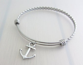 Anchor Charm Stainless Steel Bangle, Silver Anchor Charm Bracelet, Adjustable Bangle, Nautical Charm Bracelet, Stackable Bracelet, Boat Gift