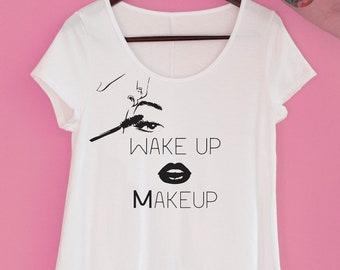 Makeup Graphic Tee - Eyelash Graphic Tee - Yoga Tee - Mascara Lipstick Shirt - Trendy T Shirt - Makeup Artist Shirt - Novelty Tee