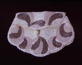 Antique Mirco Hand Beaded Fleur DeLis Design  Purse With Belt Loop