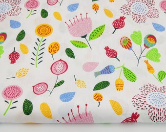 Fabric 100% cotton pink flowers, leaves on white 50 x 160 cm, 100% cotton printed accessories.