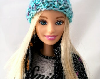 Barbie beanie, light blue, knitted  hat, colorful doll hat. Barbie doll clothes.