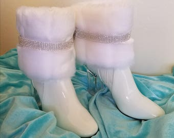 Snow Angel White Faux Mink Crystal Rhinestone Bridal Wedding Ankle Booties