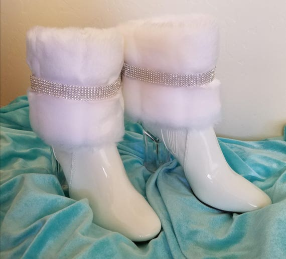 Angel Wedding Snow Mink Booties Rhinestone Faux Ankle Crystal White Bridal d0SSqaf