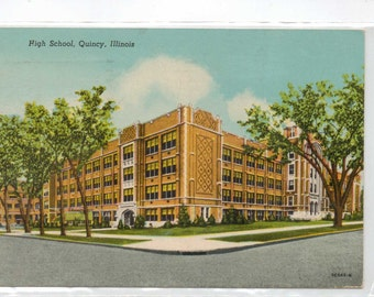 "Illinois, Vintage Postcard, ""High School, Quincy, Illinois,""  1954, #807."