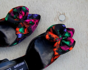 1980s Stuart Weitzman High Heel Shoes Pointed Toe Graphic Silky Print Womens Vintage 8 Narrow