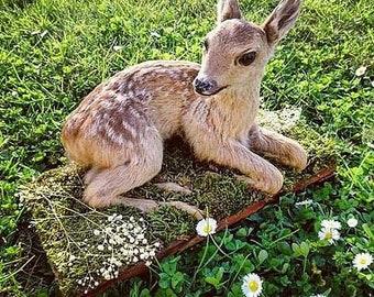 Vintage deer taxidermy cabinet of curiosities oddities pedestal