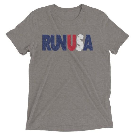Men's Run USA Triblend T-Shirt - 4th of July - Red White & Blue - Men's Short Sleeve Running Shirt