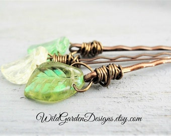 Green Glass Leaf Hair Pins Decorative Bobby Pins in Shades of Spring Green Woodland Wedding Accessories Bohemian Style Green Leaf Hair Pins