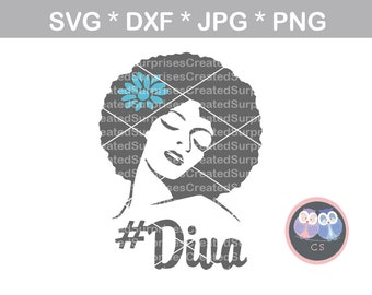 Diva, Afro woman, svg dxf png jpg digital cut file for cutting machines, personal, commercial, Silhouette Cameo, Cricut