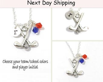 Field Hockey Necklace, Field Hockey Team, Initial Field Hockey Charm Jewelry, Team Colors School Colors, Personalized Necklace, Team Jewelry