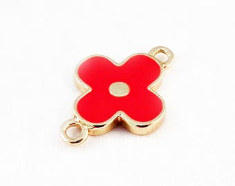 ITL68 - Quality red Monogram flower connector pendant charm