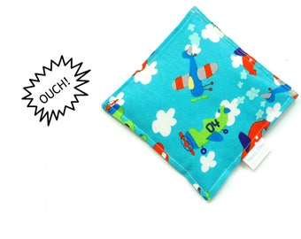 Cold compress, kids boo boo bag, ouch pouch, airplanes, baby shower gift, rice therapy bag, natural cold compress, toddler first aid