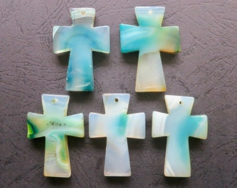 AS PICTURED- 5pcs Large Teal Green Agate Cross Pendant 35x50mm- top drilled