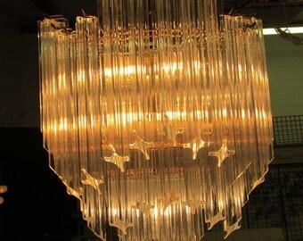 Chandelier Mid Century Lucite and Brass Chandelier