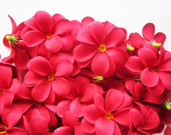 100 Red Plumeria Frangipani Heads - Artificial Silk Flower - 3 inches - Wholesale Lot - for Wedding Work, Make Hair clips, headbands, hats