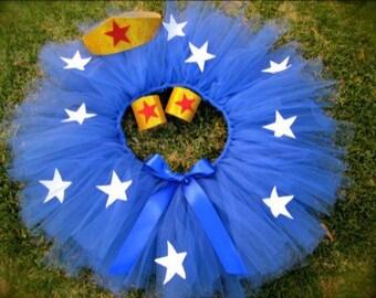 Blue Wonder Woman Tulle Tutu w/ Gold Headband Wrist Bands Stars Headband Baby Toddler Girls Halloween Costume Dress Up Superhero